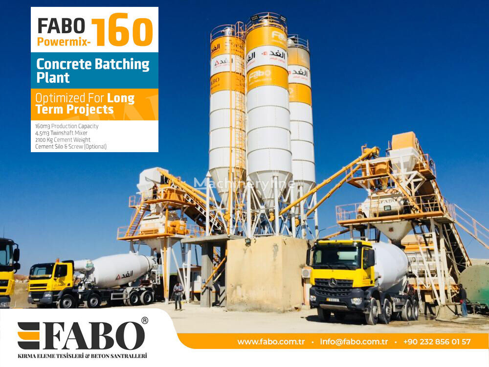 centrale à béton FABO POWERMIX-160 STATIONARY CONCRETE BATCHING PLANT neuve