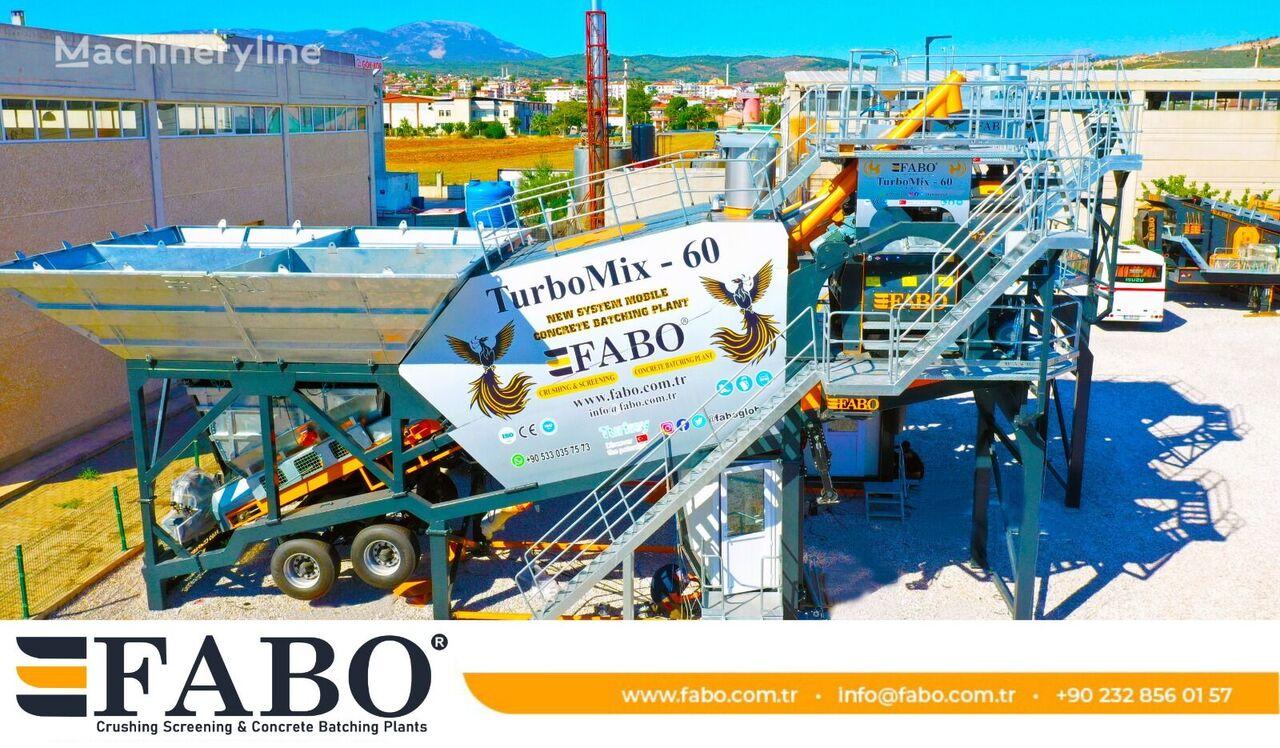 centrale à béton FABO TURBOMIX-60 MOBILE CONCRETE PLANT WITH PRE-FEEDING SYSTEM neuve