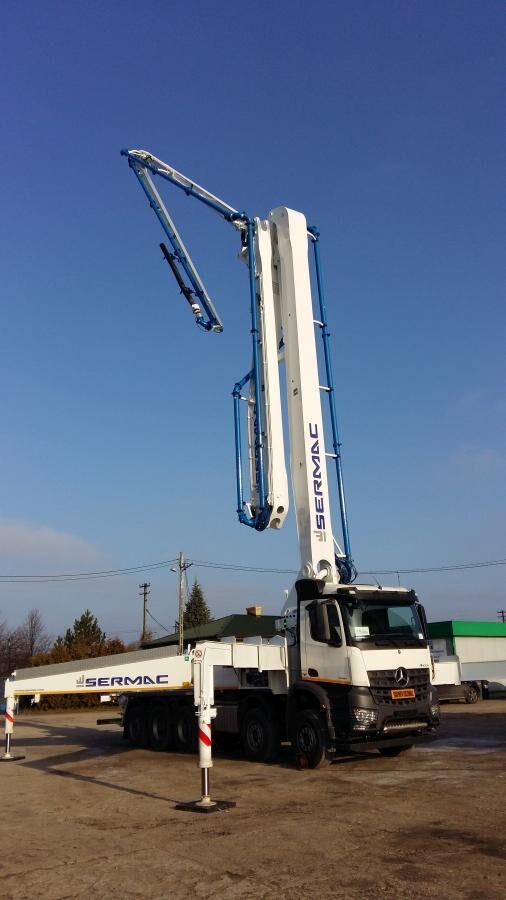 pompe à béton Sermac 51m sur châssis MERCEDES-BENZ Arocs 4145 8x4, euro 6, SERMAC 51m, perfect pump! like new